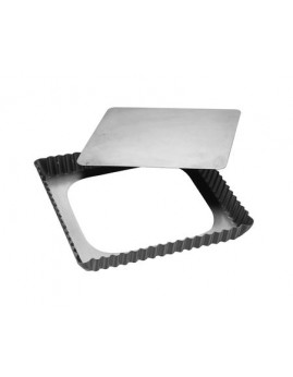 Patisse - Silvertop kvadratisk tærteform m. løs bund. 21x21 cm.