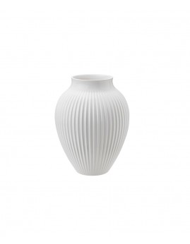 Knabstrup Keramik - Knabstrup Vase m. riller 20 cm., Hvid