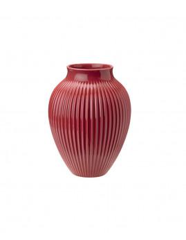 Knabstrup Keramik - Knabstrup Vase m. riller 27 cm., Bordeaux