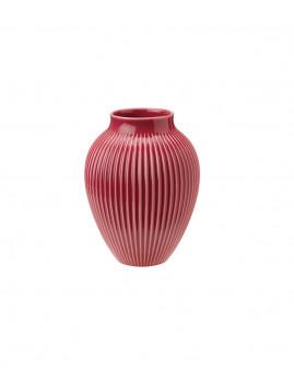 Knabstrup Keramik - Knabstrup Vase m. riller 20 cm., Bordeaux