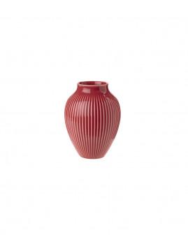 Knabstrup Keramik - Knabstrup Vase m. riller 12,5 cm., Bordeaux