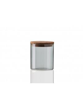 RAW - Opbevaringsglas lille smoke glas, teaktræ-låg