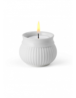 Lyngby Porcelæn Curve - Fyrfadsstage 6,5 cm. Hvid