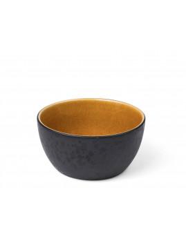 Bitz - Skål i stentøj 7x14 cm, sort/amber.