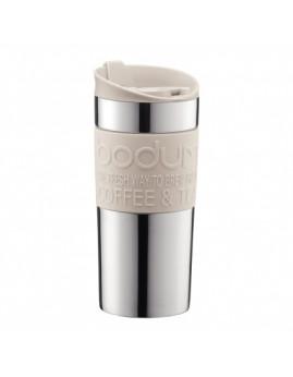 Bodum Travel Mug - Rejsekrus m. klik låg 0,35 ltr, krom/hvid