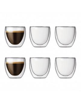 Bodum Pavina - 6 stk. dobbeltvægget espresso glas 0,08 ltr.