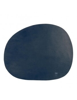 RAW - Recycled Læderdækkeserviet, Mørkeblå.
