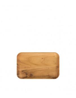 RAW - Rektangulær tallerken i teak. 23,7 x 14,9 x 1,8 cm.